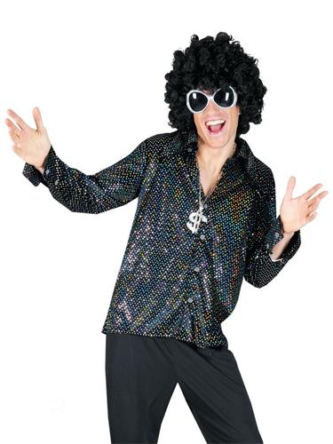Chemise Disco Noire à Paillettes