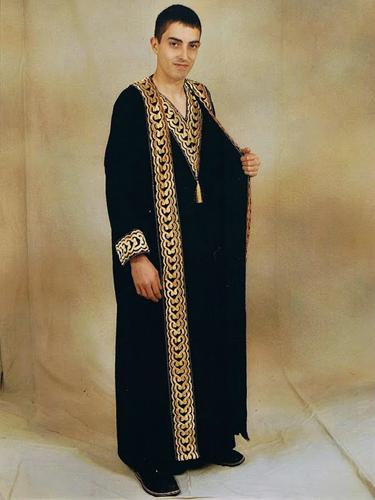 Djellaba Luxe Noire Dorée