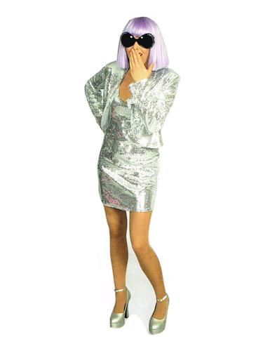 Robe Chic Disco Paillettes Argent