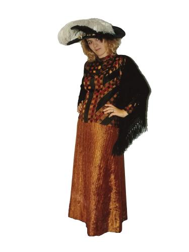 Robe d'époque Orange Cuivré